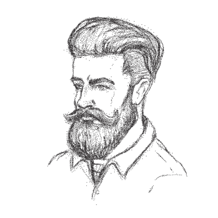 Hand drawn dotwork potrait of a beardy man with trendy haircut. Illustration