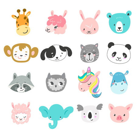 Set of cute hand drawn smiling animals characters. Cartoon zoo. Vector illustration. Giraffe, llama, bunny, bear, monkey, dog, cat, panda, raccoon, owl, unicorn, hippo, sheep, elephant, koala and pig Vettoriali