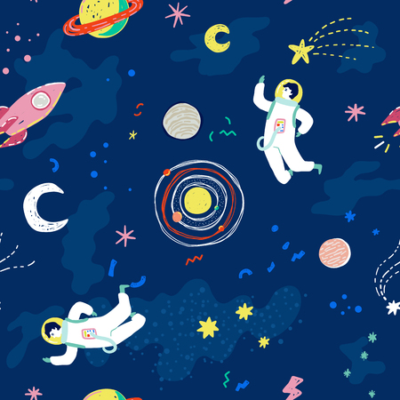 Cosmic seamless pattern with cartoon stars, planets, moon, space ship and astronaut. Trendy retro 90s style vector illustration.