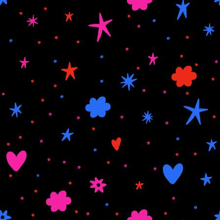 明るいカラフルな星、雲と心とシームレスなベクトルパターン。レトロな背景。