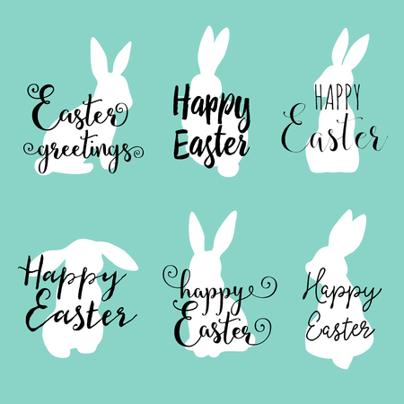 Hand lettering Happy Easter greetings phrases with cute sitting bunny.