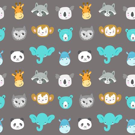 Seamless vector pattern with cute smiling animal heads. Cartoon elephant, monkey, raccoon, panda, owl, giraffe, bear, koala and hippo. Funny zoo characters.