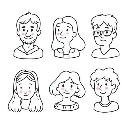 Avatars dessinés à la main pour les médias sociaux dans le style doodle. Hommes souriants et icônes de visage de femme. Ensemble de portraits de personnes mignonnes. Banque d'images - 94468876