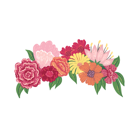 Vector illustration of a floral head wreath isolated on a white background.