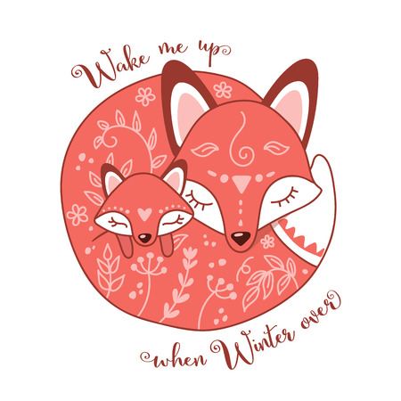 Vector illustration of two sleeping foxes, mother and child. Perfect for kids apparel, fabric, textile, nursery decoration, greeting card, t-shirt design, print or poster. Ilustrace