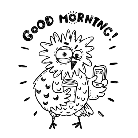 Funny doodle owl with coffee, not so good morning illustration