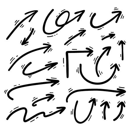 手描きベクトル矢印セット。  イラスト・ベクター素材