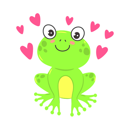Vector illustration of a cute cartoon frog. T-shirt graphics for kids