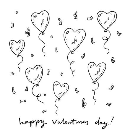 Valentijnsdag kaart met grappige doodle lucht ballonnen