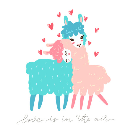 Vector greeting card with two lovely lamas. Love is in the air. Valentines day greeting. Stock Illustratie