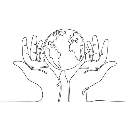 One line drawing of hands holding Earth globe. Save the planet concept. 矢量图像