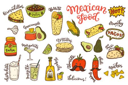Mexican cuisine, sketch doodle food set Vectores