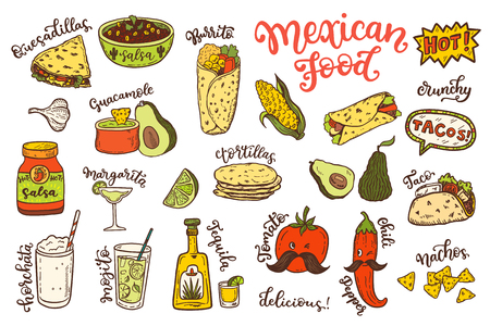 Mexican cuisine, sketch doodle food set Illustration
