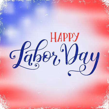 Vector Illustration Dia do Trabalhador um feriado nacional dos Estados Unidos. Cartaz americano feliz do projeto da venda do Dia do Trabalhador com frase caligráfica escrita mão. Foto de archivo - 94487146