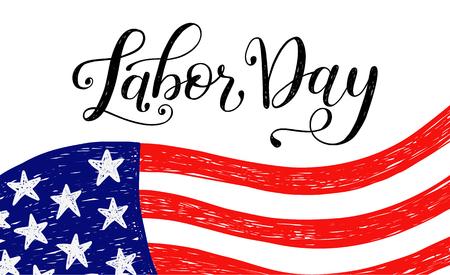 ベクトルイラスト労働の日アメリカの祝日。アメリカのハッピー・労働者の日セールデザインポスターと手書きの書き込みフレーズ。