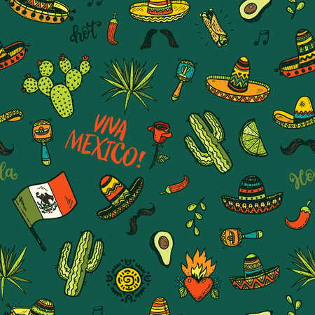 Vector seamless background with hand drawn colored Mexican elements. Independence day, Cinco de mayo celebration, party doodle decorations for your design. Vettoriali