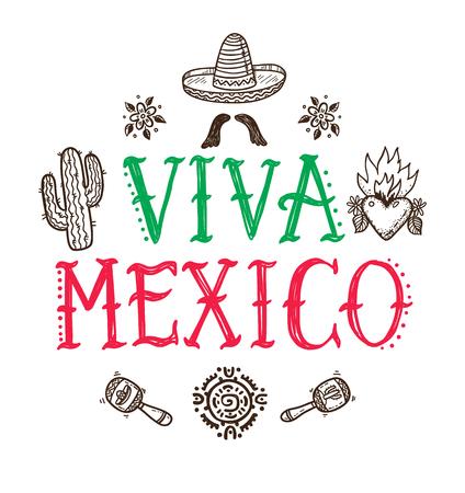 Viva Mexiko Grußkarte mit Hand gezeichneten mexikanischen Doodle Icons Standard-Bild - 94458034