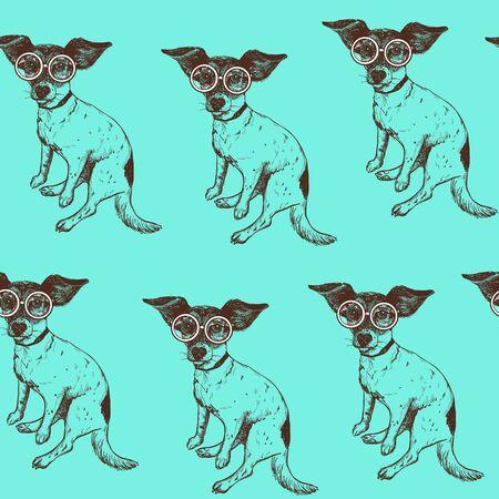 Naadloos patroon met hand getrokken Jack Russell Terrier hond in glazen