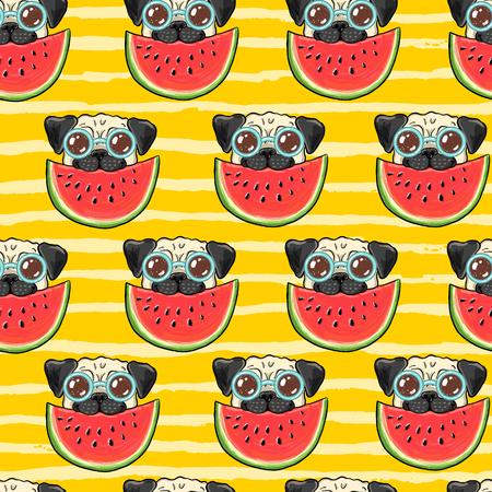 スイカを食べるサングラスで面白いパグ犬とシームレスな夏のベクトルの背景パターン