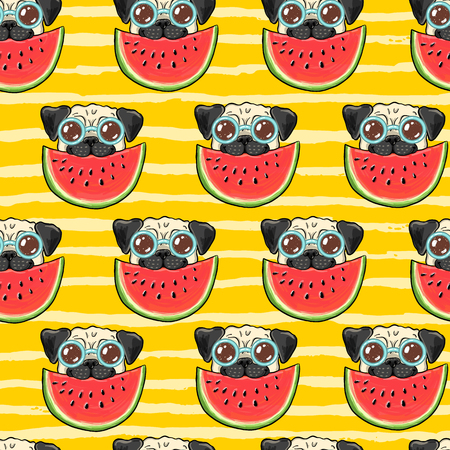 Seamless summer vector background pattern with funny pug dog in sunglasses eating watermelon