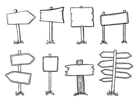 낙서 나무 도로 표지판 및 화살표의 손으로 그린 그림