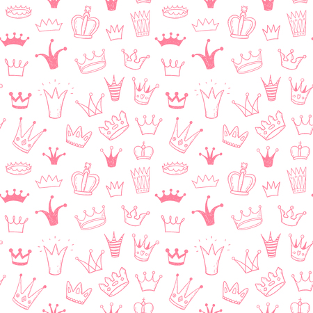 Seamless vector pattern with doodle princess crowns 矢量图像