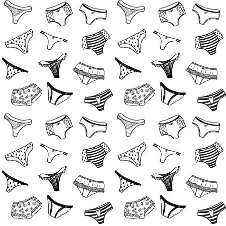 Modèle vectorielle continue avec des pantalons de fille doodle dessinés à la main Banque d'images - 94540125