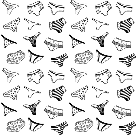 Seamless vector pattern with hand drawn doodle girl pants Illustration