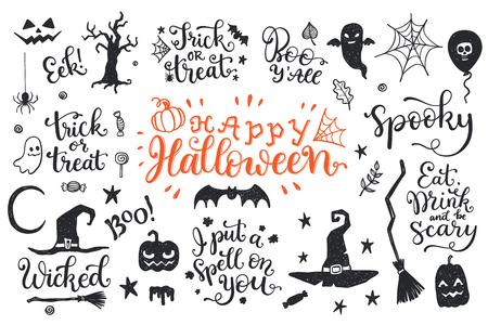 Feliz dia das bruxas gráfico e lettering conjunto. Trick or Treat, Boo, eu coloquei um feitiço em você e em outras frases com símbolos desenhados a mão. Foto de archivo - 94540130