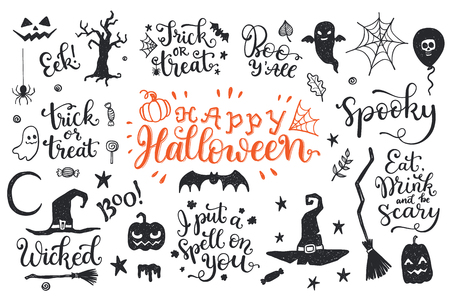 Happy Halloween graphic and lettering set. Trick or Treat, Boo, I put a spell on you and another phrases with hand drawn symbols.