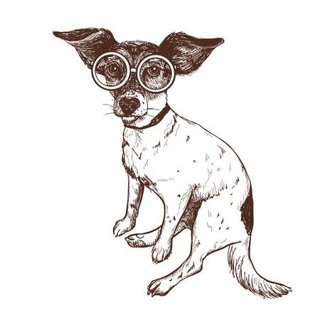 メガネで手描きジャックラッセルテリア犬のベクトルイラスト