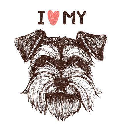 Adoro il mio schnauzer. Illustrazione di schizzo di vettore con ritratto di cane disegnato a mano. Può essere utilizzato per biglietti di auguri, design di t-shirt, stampe o poster