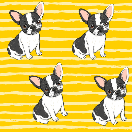 Seamless vector background pattern with funny french dog Standard-Bild - 94602785
