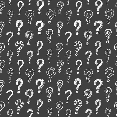 Modello di vettore senza soluzione di continuità con punti interrogativi doodle su uno sfondo di lavagna