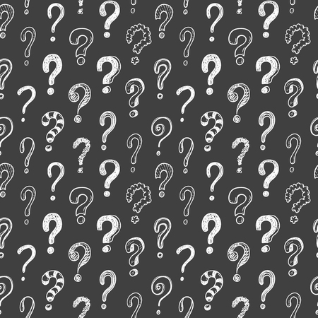 Seamless vector pattern with doodle questions marks on a blackboard background Çizim