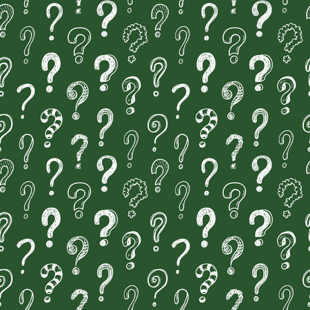 Seamless vector pattern with doodle questions marks on a chalkboard background