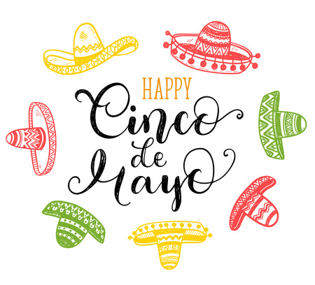 Happy Cinco de Mayo greeting card with hand drawn phrase and doodle sombreros Illustration