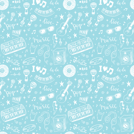 Seamless vector pattern with hand drawn music instruments