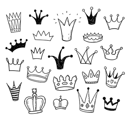 Hand drawn doodle princess crowns set Stock Illustratie