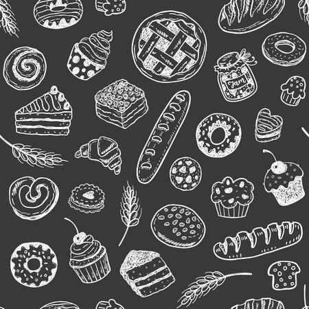 Modèle vectorielle continue avec des pâtisseries et des produits de boulangerie doodle dessinés à la main Banque d'images - 94493863