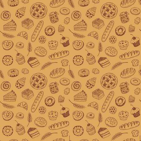 Modèle vectorielle continue avec des pâtisseries et des produits de boulangerie doodle dessinés à la main Banque d'images - 94493867