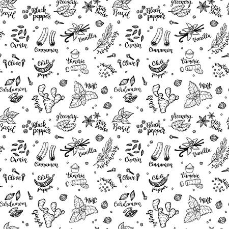 Fundo de padrão de vetor sem costura com especiarias desenhadas à mão e doodles de ervas. Foto de archivo - 94462999