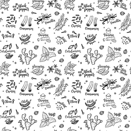 Seamless vector pattern background with hand drawn spices and herbs doodles.