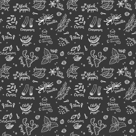 Padrão sem emenda vector com mão desenhada especiarias e rabiscos de ervas em um fundo de quadro-negro Foto de archivo - 94462998
