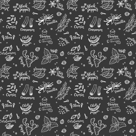 Seamless vector pattern with hand drawn spices and herbs doodles on a blackboard background