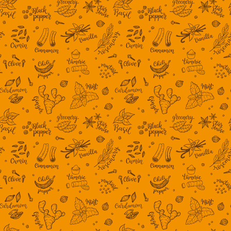 Seamless vector pattern background with hand drawn spices and herbs doodles. 写真素材 - 94465020