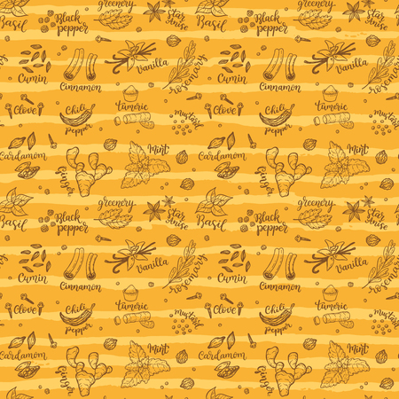 Seamless vector pattern background with hand drawn spices and herbs doodles. Imagens - 94540641