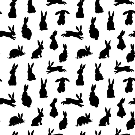 白い背景に黒いイースターウサギのシルエットとシームレスなベクターの背景