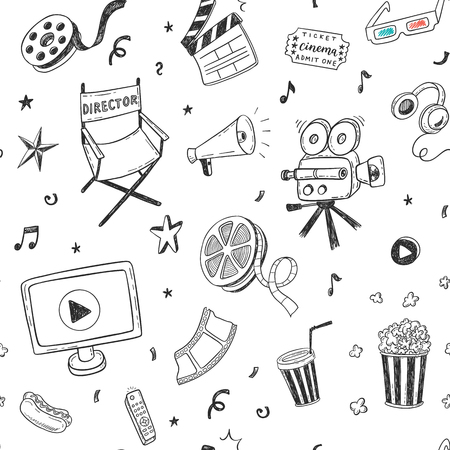 Seamless pattern with hand drawn cinema doodles