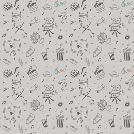 Seamless pattern with hand drawn cinema doodles Banque d'images - 94464456